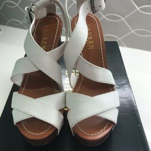 Ralph Lauren wedge, white leather size 6-6.5 New!